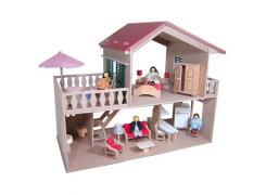 Casa de Boneca  com Piscina e Móveis - Bohney   (bonecos não inclusos)