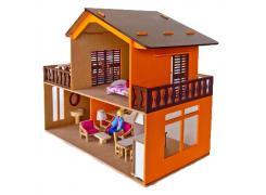 Casa de Boneca Pintada com Piscina e Móveis - Bohney