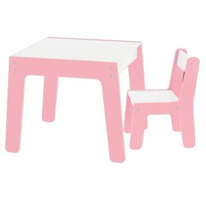 Conjunto de Mesa + Cadeira Infantil - Rosa Mobilha - Junges
