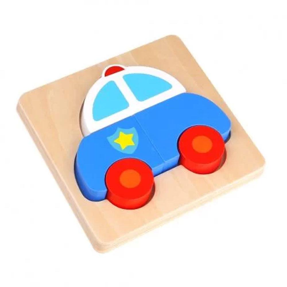 Mini Quebra-Cabeça Carro de Polícia - Tooky Toy