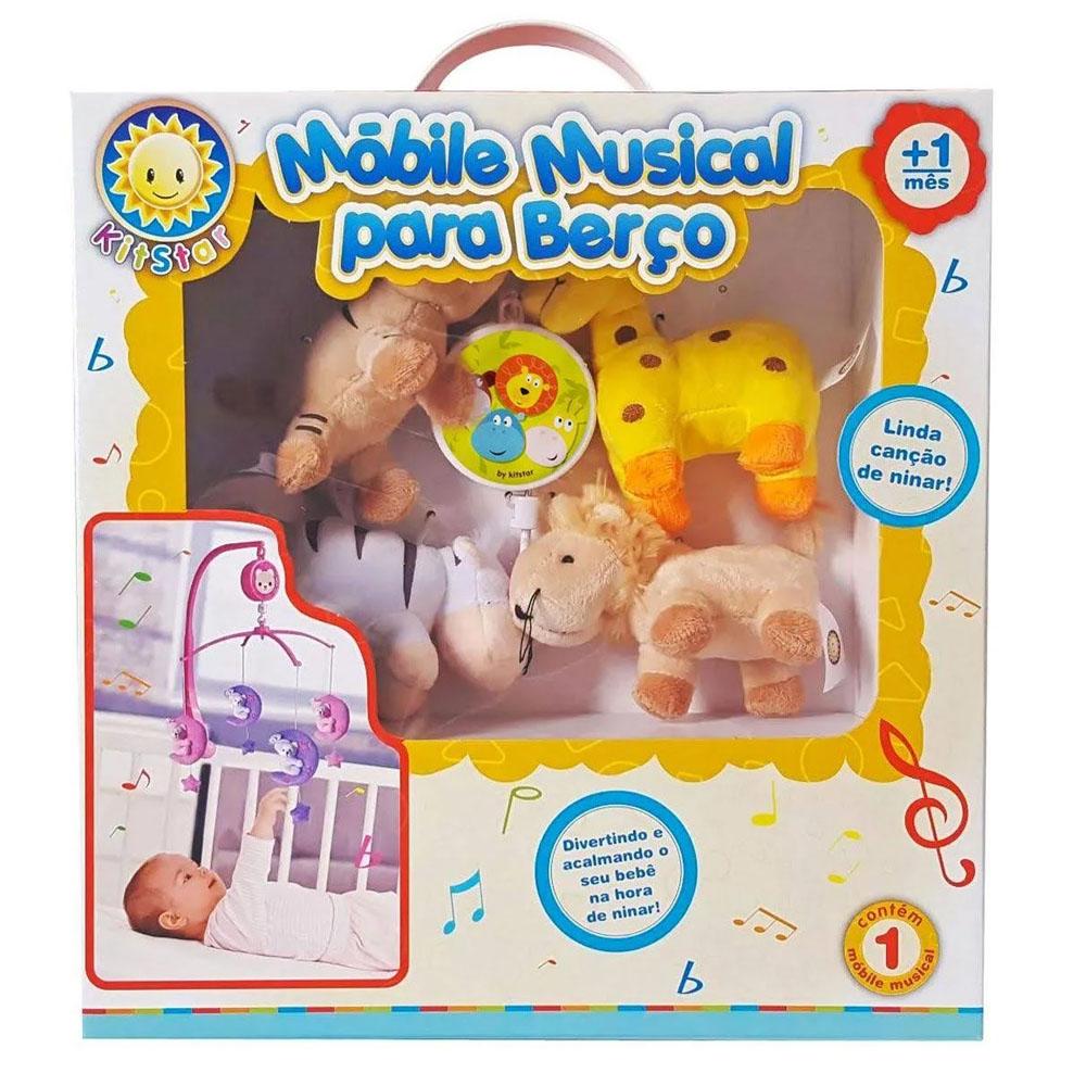 Móbile em Pelúcia Giratório Musical - Berço de Bebê - Safari - Kitstar
