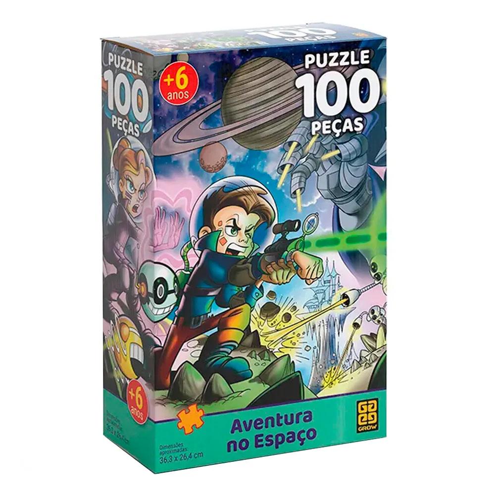 Puzzle 100 peças Aventura no Espaço - Grow - Quebra Cabeça