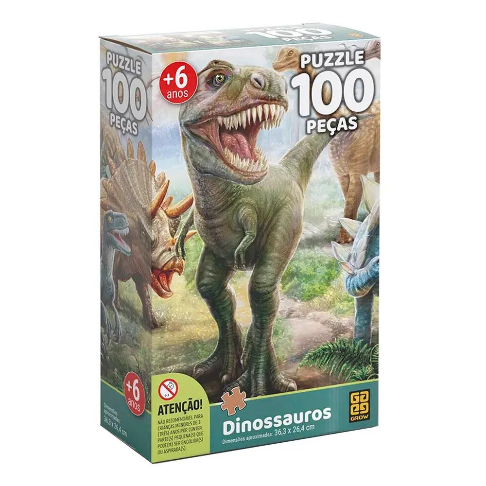 Puzzle 100 peças Dinossauros - Grow - Quebra Cabeça