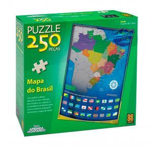 Puzzle 250 peças Mapa do Brasil - Grow - Quebra Cabeça