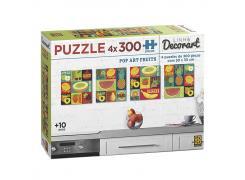 Puzzle 4 x 300 peças Decorart Pop Art Fruits - Quebra Cabeça - Grow