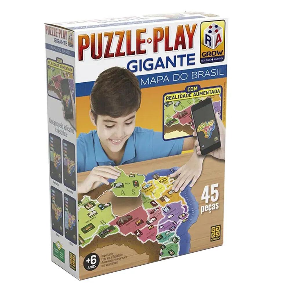 Puzzle Play Gigante Mapa do Brasil - Grow - Quebra Cabeça