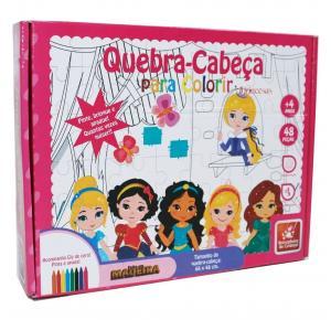 Quebra Cabeça para Colorir Princesas - Brincadeira de Criança