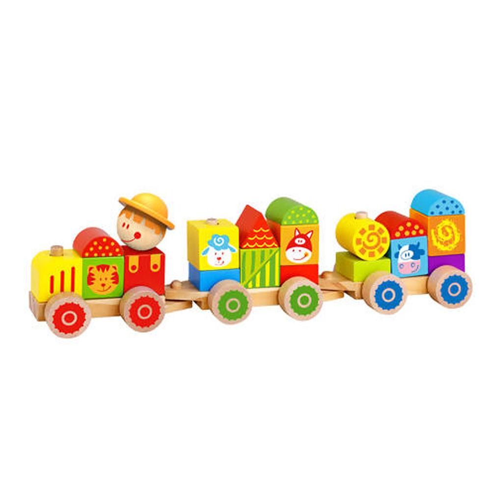 Trem de Blocos Fazenda em Madeira - Tooky Toy