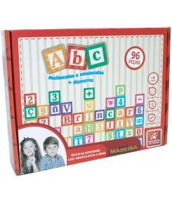 ABC Maiúscula e Minúscula 96 peças - Brincadeira de Criança - Alfabeto