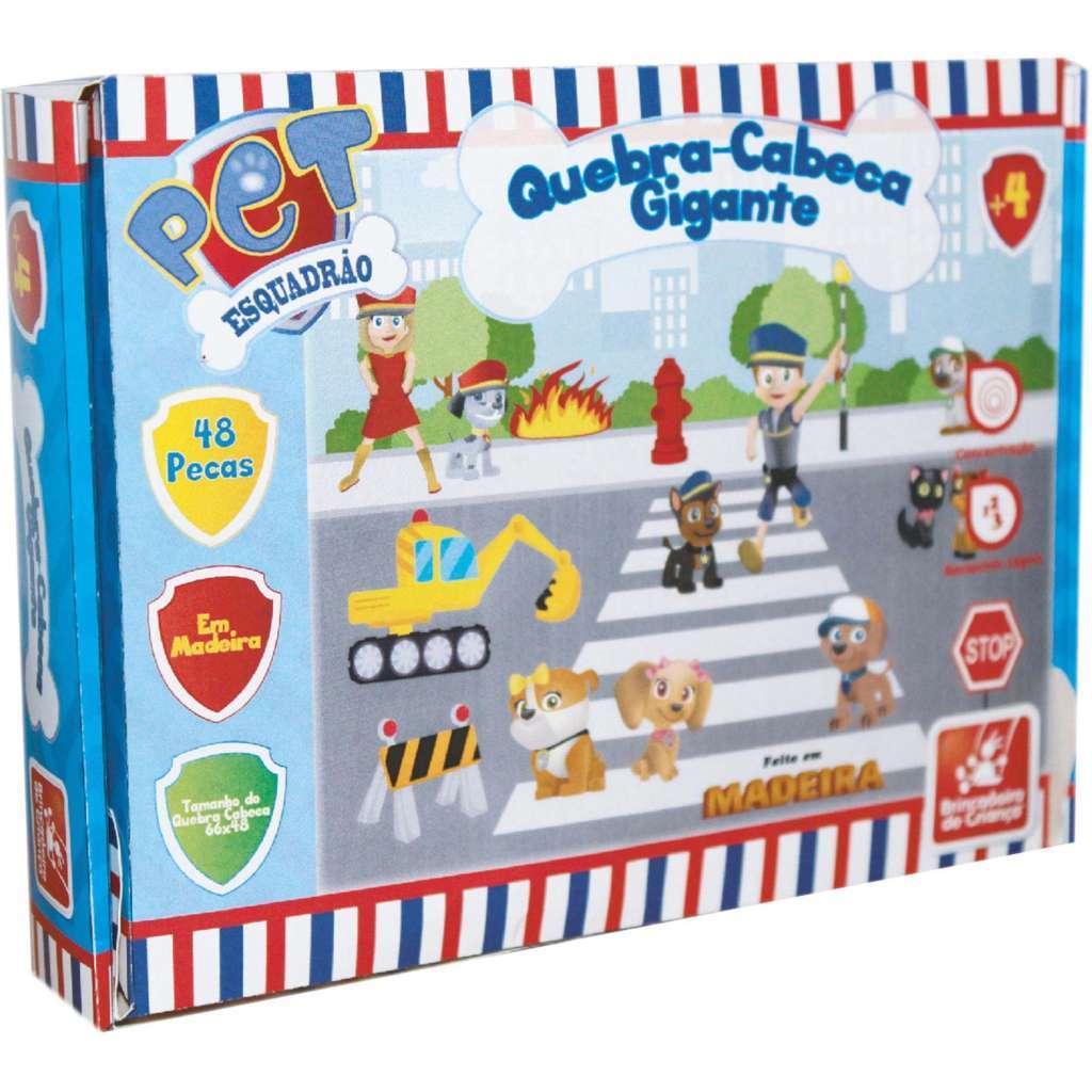 Quebra-cabeça Gigante 48 Peças Madeira Esquadrão Pet - Brincadeira de Criança