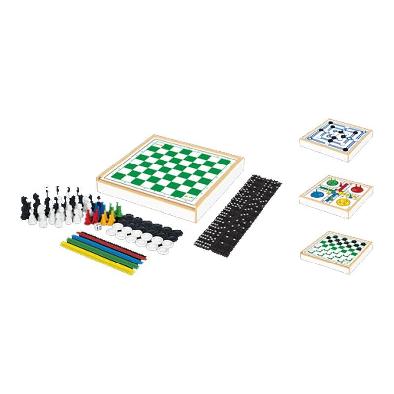 Jogo 6 Em 1 -  Xadrez, Damas, Trilha, Ludo, Pega-Varetas E Dominó - Tabuleiro - Junges